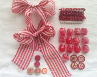 French Reds Inspired Artpack, Vintage Sewing and Crafting Trims