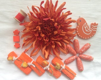 Sunshine Orange Inspired Creative Artpack, Vintage Sewing and Crafting Trims