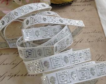 Vintage Greek Key Trim, Designers Passementerie, White and Silver