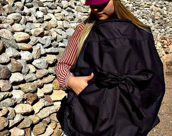 Nursing Cover-Breastfeeding Cover-Nursing Tops-Nursing Cover Up-Breastfeeding Cover-Black Breastfeeding Covers-Feeder Frock-Bow Tie Pocket