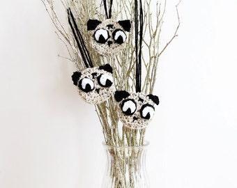 Pug Ornaments Set - Set of 3 Pug Christmas Ornaments - Dog Ornaments - Handmade Pug Decor