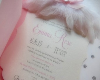 Angel Invitations - Lil piece of heaven feather angel wing Baptism, Christening, First Communion, Baby Shower, Birthday Invitation