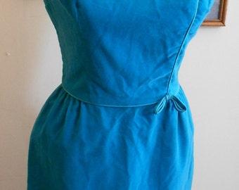 """1950's, 32"""" bust, turquoise blue velveteen sheath dress"""
