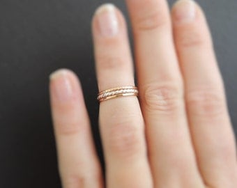 Midi Rings rose gold rings and sterling silver ring 3 mixed metal above the knuckle rings
