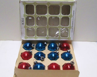 Christmas Ornaments 12 Mercury Glass Balls Vintage Red Blue Noelle Box Mid Century Industrial Tree Trim 50s XMAS Glass Ball lot