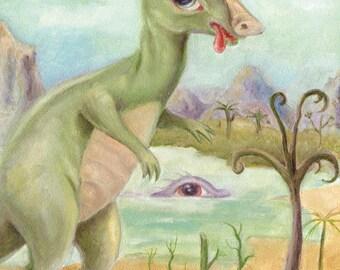 Dinosaur Art Print, Surreal Art, Queen, Pop Surrealism, Lowbrow Art, Big Eye Art, Whimsical Art, Childrens Decor, Beach Art Matted Print