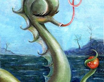Sea Monster Art Print, Loch Ness Monster, Pop Surrealism, Lowbrow Art, Big Eye Art, Whimsical Art, Childrens Decor, Matted Print, Giclee
