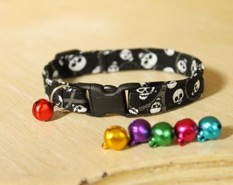 Black Skull Tough Kitty Cat Collar with Bell or Charm and Safety Buckle