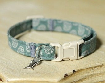 Paisley Sea Cat Collar with Fish Charm, Comfortable, Adjustable with Breakaway Buckle