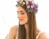 Butterfly Headpiece Mother Nature Halloween Flower Crown Costume Accessories, Butterfly Princess Woodland Halo Headband Butterfly Crown
