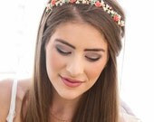 Coral and Pearl Beaded Headband, Vintage Flower Tiara, Wedding Headband, Boho Bohemian Wedding Headpiece, Headband for Women