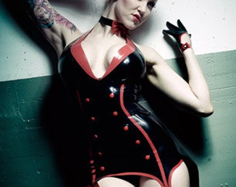 Lady Lucie Latex Showgirl Suspender Dress