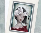 Goth Girl Greeting Card & Envelope  - Vampire Girl And Hummingbird - Dont Be Afraid