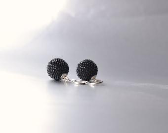 globe earrings black with silver hooks