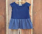 Peplum top - Girls peplum cute ruffle dot navy shirt - size 11 12 - peplum navy dot shirt handmade