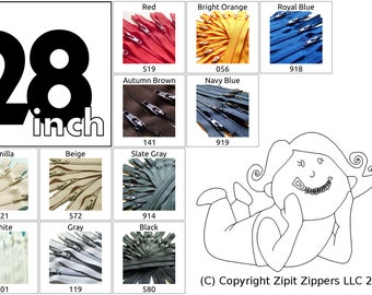 YKK Zippers Your choice of Colors 28 Inch Mix and Match Zips Qty 25