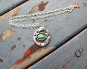 Artisan pendant necklace with green chrysophrase and sterling silver chain