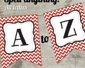 Georgia Red Chevron Printable Banner, Letters A-Z