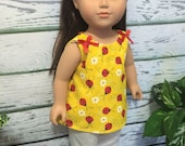 """18"""" Doll Clothes, Ladybug Pant Set, Yellow Red White Doll Clothes, Ready to Ship, Handmade 18"""" girl doll clothes"""