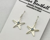 Starfish Earrings with Stone(Aquamarine) Made to Order