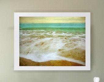 Beach II Art Print.  Soothing blue and green surf on sandy beaches. Beach art. Landscape photography.