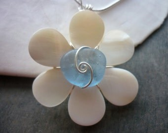 Sea Glass Necklace Sea Shell  Flower Beach Blue Seashell Jewelry Pendant Sterling