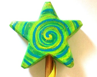 Magic wand star handmade greenish swirl