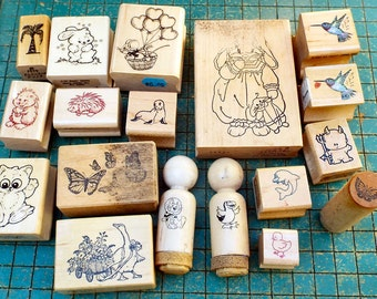 19 craft stamps, destash, wood mounted rubber craft stamps, various animal stamps, hummingbird, butterfly, mouse, hedgehog, goose