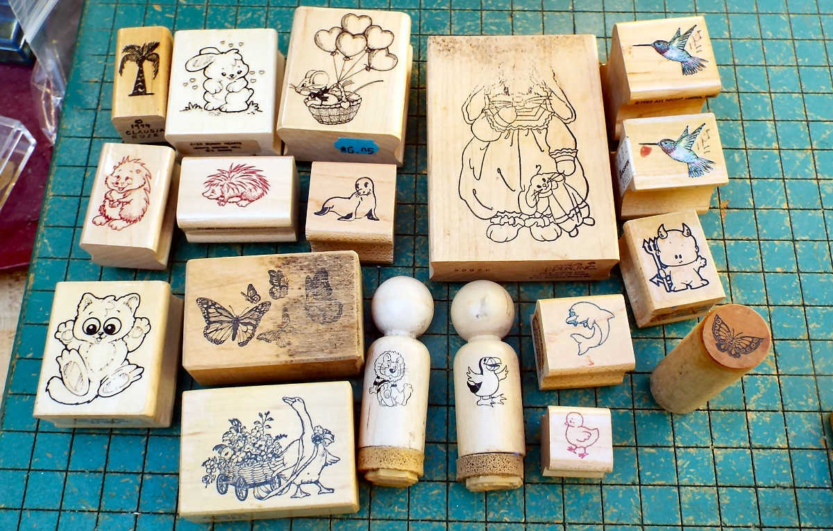 19 craft stamps destash wood mounted rubber craft stamps for Custom craft rubber stamps