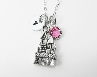 Castle Necklace - Personalized Handstamped Initial Name, Customized Swarovski crystal birthstone