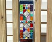 Multicolored Geometric Stained Glass Suncatcher