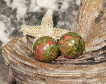 Unakite Stud Earrings Earings Titanium Ear Posts and Clutches 8mm Round Pink and Khaki Green Made in Newfoundland Hypo Allergenic