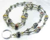 ID Lanyard, Badge Holder, ID Necklace - Multi-Colored Tiger Eye Jasper and Green Swarovski Pearl