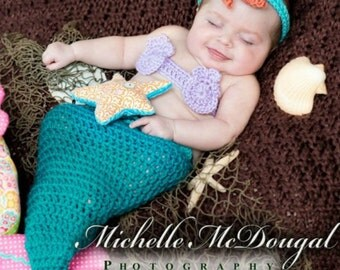 Newborn Turquoise Mermaid Photo Prop Costume, 0 to 3 month Mermaid Tail Halloween Outfit