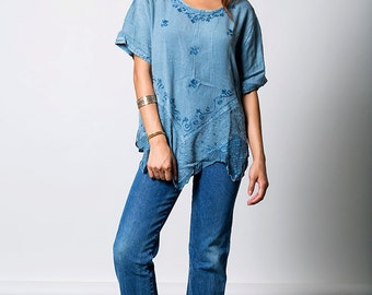The Vintage Blue Boho Tunic Top