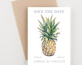 Tropical Pineapple Save The Date, Green and Taupe, Destination Wedding Invitation