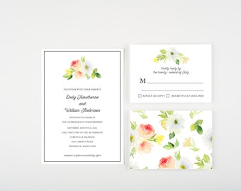 Watercolor Bouquet Wedding Collection, Blue, Peach and Green, Wedding Announcement
