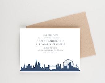 London UK Skyline Save The Date, Destination Wedding