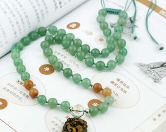 Rabbit (Dog) Chinese zodiac enhancer necklace - aventurine, quartz and tiger eye