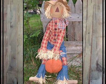 Tall Primitive Folk Art hand embroidered rag doll scarecrow handmade pumpkin raffia hair HAGUILD HAFAIR OFG  faap
