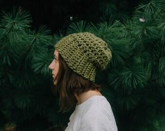 sage green crochet chunky slouchy beanie