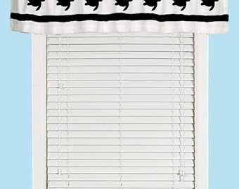 Sea Turtle, Dolphin, or Seahorse Window Valance Curtain - Your Choice of Colors