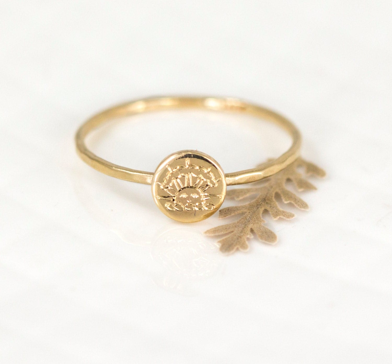 custom class ring in 14k gold engraved by