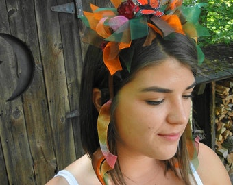 Renaissance FAIRY autumn fall headband Monach butterfly party chic Wood nymph dress up costume