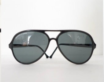Bausch and Lomb Vintage Frame France B & L Big Black Aviator Eyeglasses Shooters Hip Hop Sunglasses Ray Ban Cats