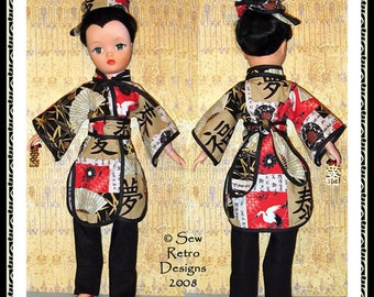 "Original 50's Dollikin Mandarin Kimono Pants Sewing PATTERN fits 19"" Dolls"