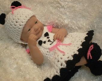 Clothes For 14 Inch Dolls.Cute Panda Bear Dress Set.Fits Berenguer/Reborn ect.