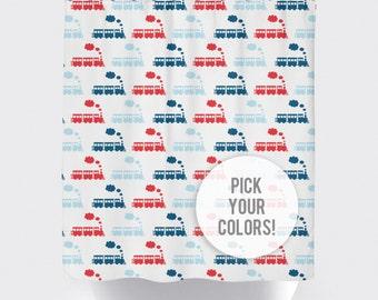 Train Shower Curtain, Custom Shower Curtain, Kids Train Shower Curtain, Train Decor, Train Bathroom Decor, Train Curtain Pick Your Color!