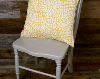 "Yellow Pillow - Throw Pillow, Decorative Pillow, Feathers - 16"" x 16"""