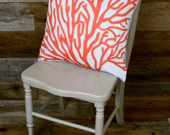 """Coral Pillow - Throw Pillow, Decorative Pillow - 16"""" x 16"""""""